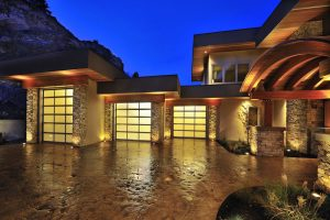 Esteem Series aluminum and glass contemporary garage door