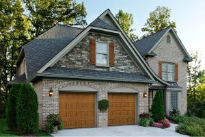 Lincoln traditional garage door in golden oak finish