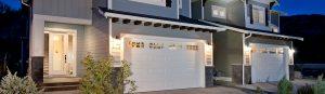 RanchCraft long raised panel garage door with stockton windows